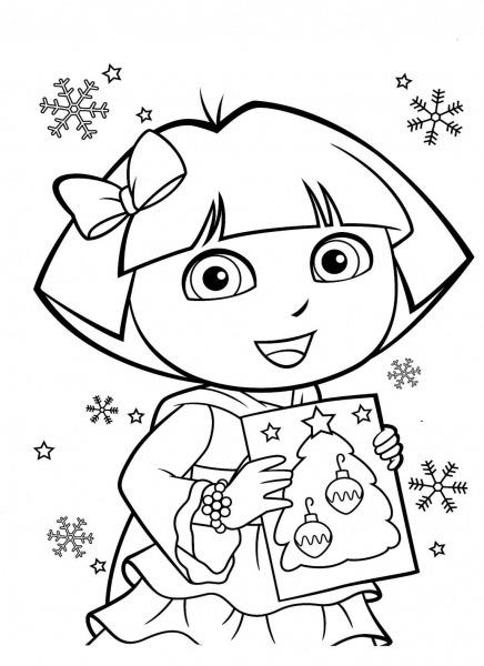 Desenho De Dora Aventureira Com Lacinho No Cabelo Para Colorir