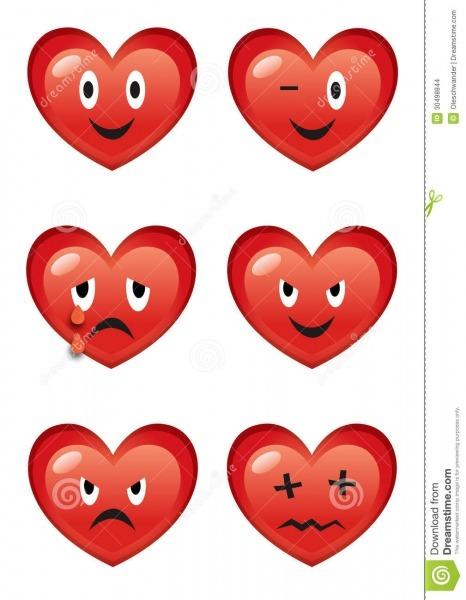 Expressões Dos Corações Dos Desenhos Animados Várias Ilustração Do