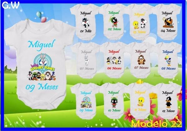 Kit 12 Body Mesversario Baby Looney Tunes Personalize Nome