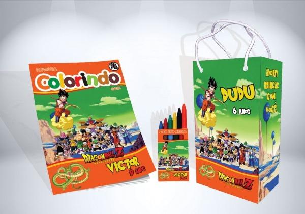 Kit De Colorir Dragon Ball Revista Sacola Giz Brindes No Elo7