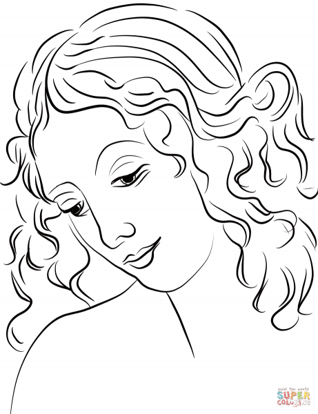 Desenho De Cabeça De Mulher (la Scapigliata) Para Colorir