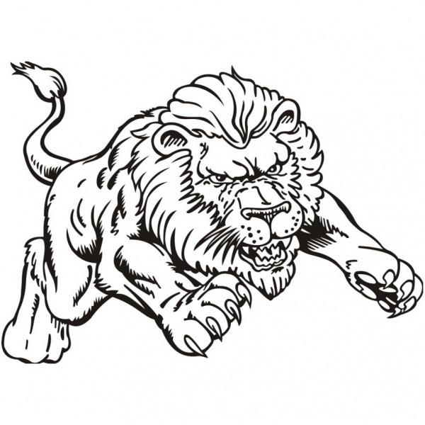 Desenho De Leão Atacando Para Colorir