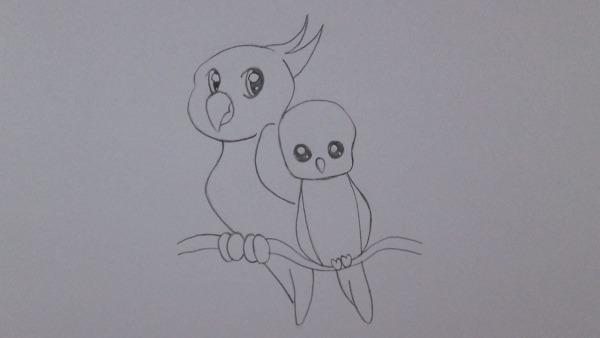 Como Desenhar Um Papagaio E Um Passarinho