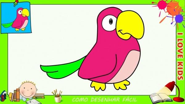 Como Desenhar Um Papagaio Facil Passo A Passo Para Crianças E