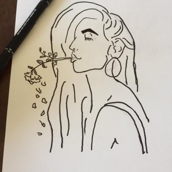 Mulher Com Flor Desenho Simples No Elo7