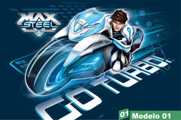 Painel Festa Lona Aniversário Max Steel Moto Turbo Desenho