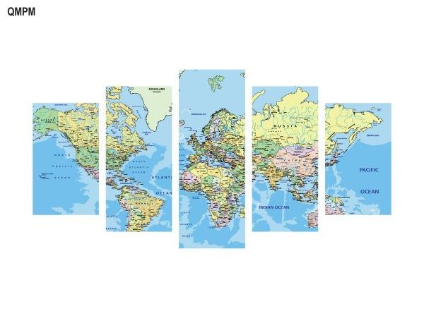 Quadro Mapa Do Mundo Decorativo 5 PeÇas 114x65 No Elo7