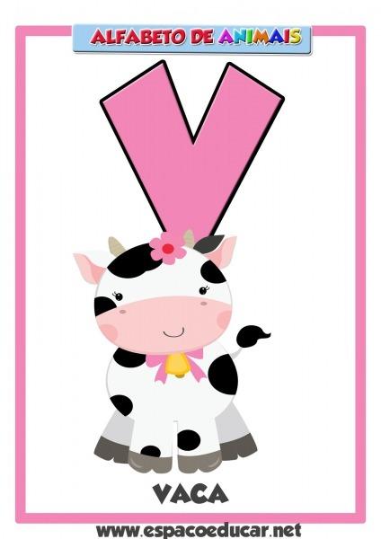 Alfabeto De Animais  Cartaz Letra V, De Vaca! Grátis Para Você