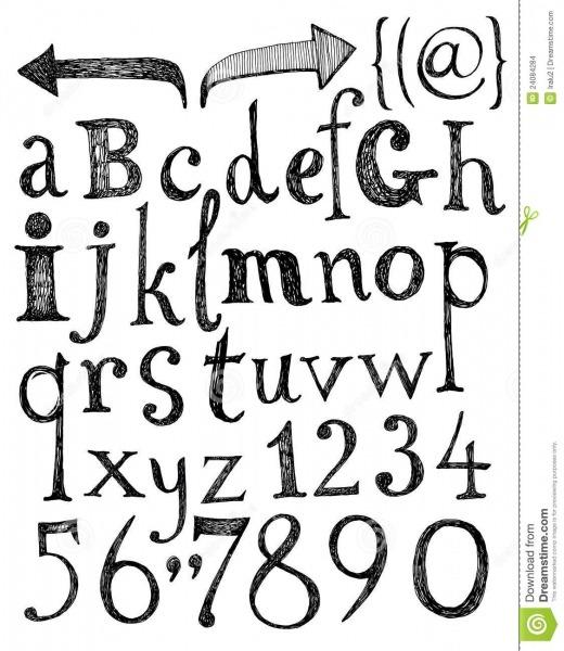Alfabeto  Letras Desenhadas Mão  Ilustração Do Vetor