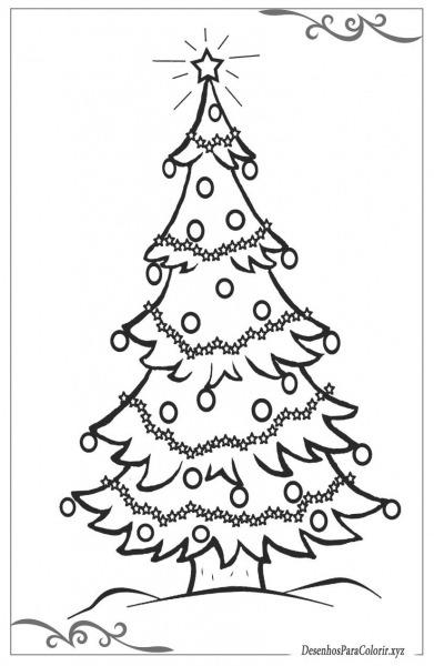 Árvore De Natal Desenhos Para Imprimir E Colorir