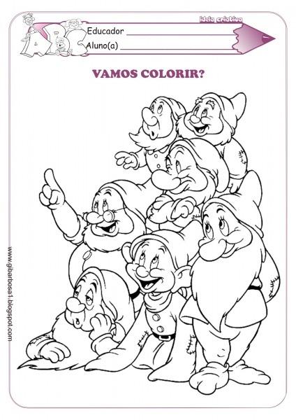Branca De Neve E Os Sete Anoes Para Colorir – Pampekids Net