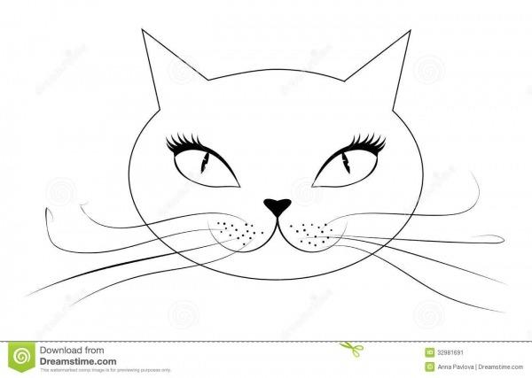 Cara Do Gato Dos Desenhos Animados Ilustração Do Vetor