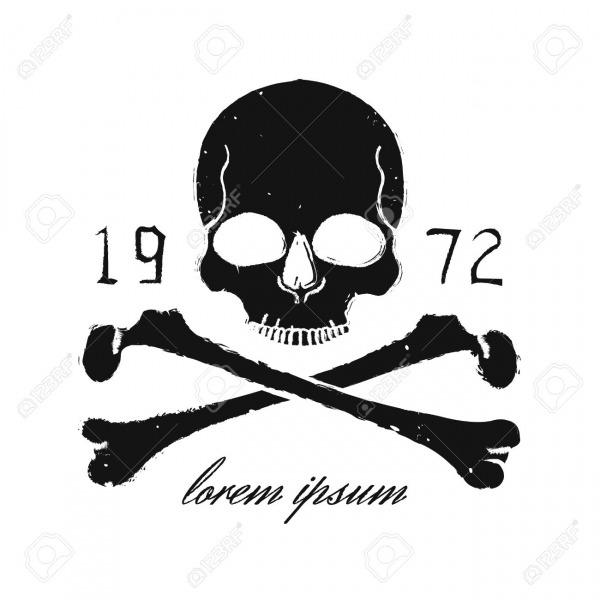Caveira E Ossos Cruzados Emblema Preto Do Vintage Imprimir