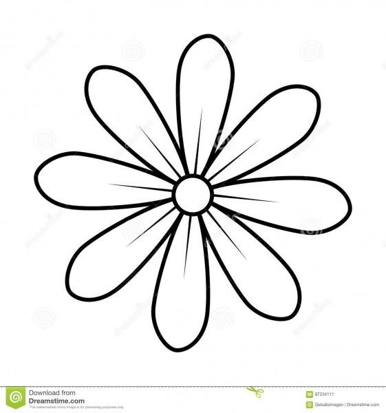 Contorno Monocromático Do Design Floral Do ícone Da Flor Da