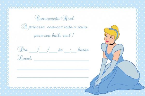 Convites Grátis  Convite Cinderela