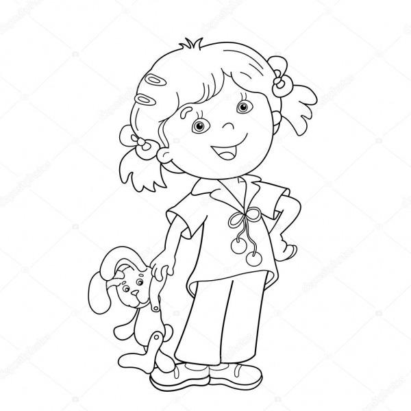 Colorir A Página Contorno Da Menina Dos Desenhos Animados Com