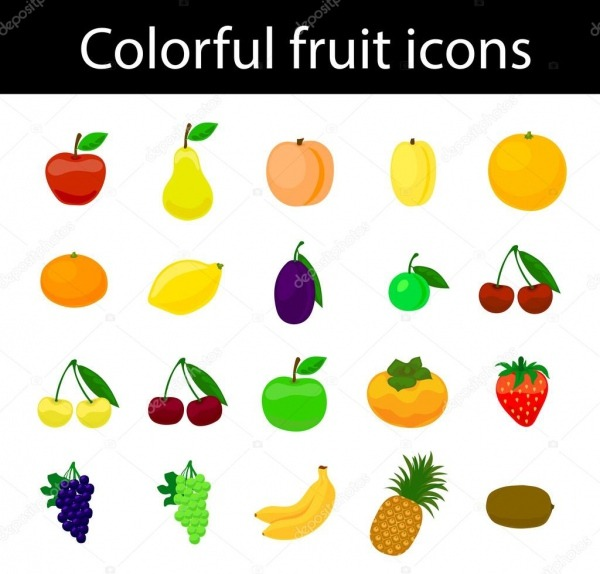 Frutas ícones Colorido Vetor Definido Para Web E Imprimir