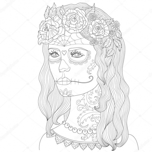 Página Para Colorir Para Adultos, Menina Bonita Com Maquiagem