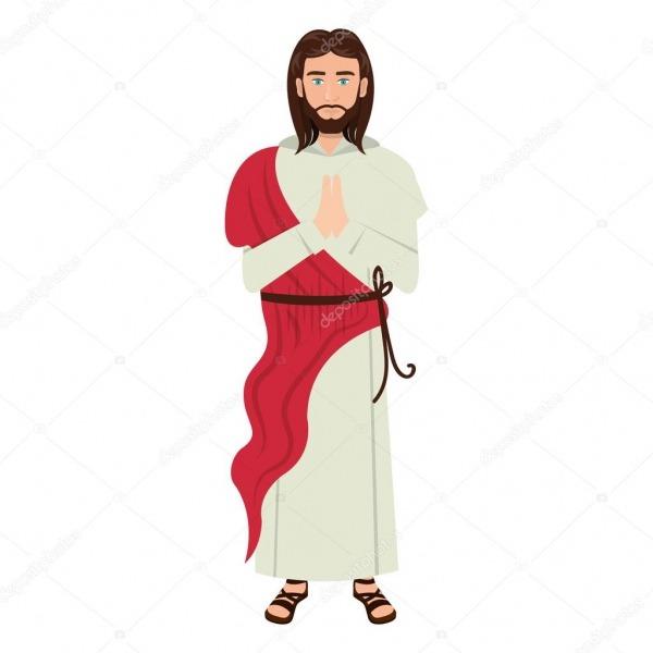 Jesus Cristo Homem Dos Desenhos Animados — Vetores De Stock