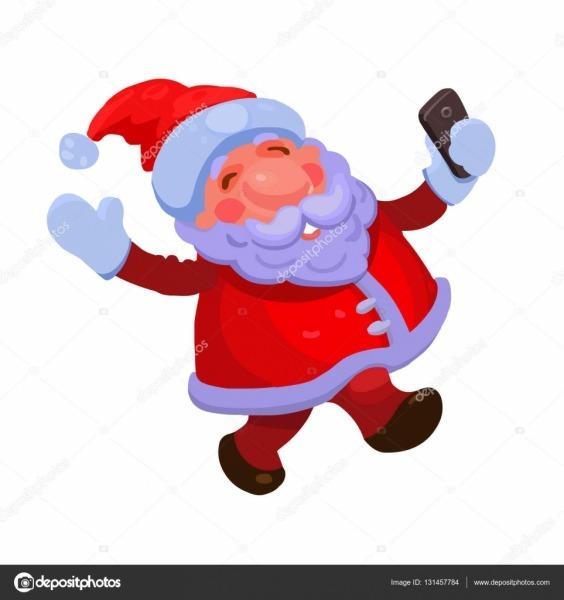 Ilustração Vetorial Isolado Feliz Papai Noel Faz Selfie Em Estilo