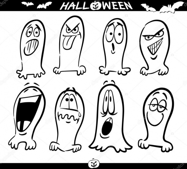 Halloween Fantasmas Emoticons Para Colorir — Vetor De Stock