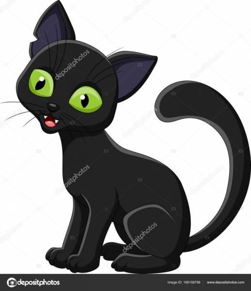 Gato Preto Desenho Isolado No Fundo Branco — Vetor De Stock
