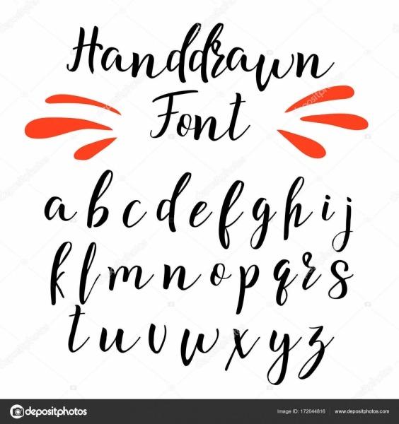 Fonte De Caligrafia Manuscrita  Alfabeto De Vetor  Letras