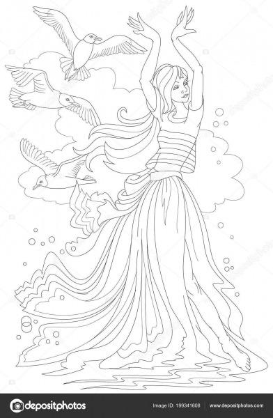 Página Preto Branco Para Colorir Fantasia Desenho Menina Bonita