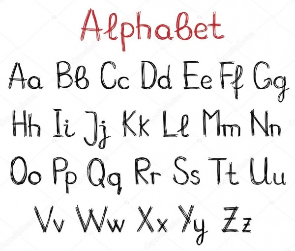 Letras Do Alfabeto Desenhadas De Mão — Vetor De Stock © Tatus