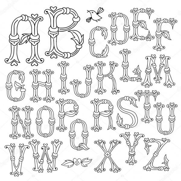 Letras Do Alfabeto Desenhadas De Mão Caprichosa — Vetores De Stock