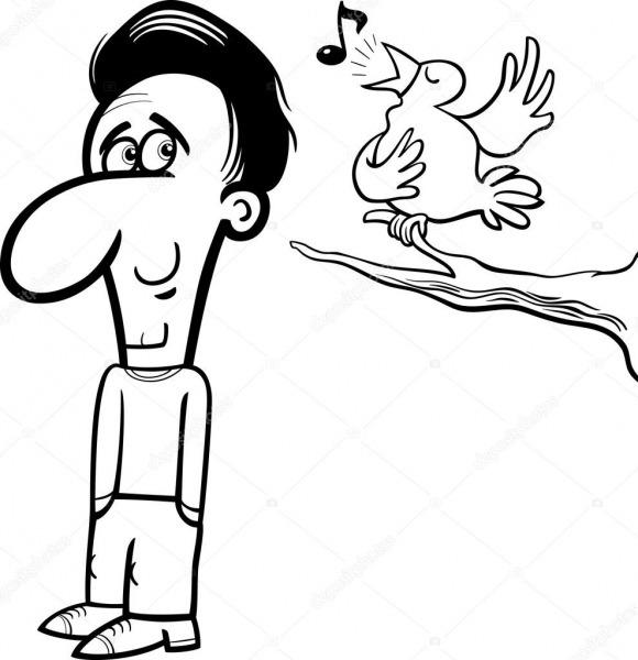 Homem E Pássaro Dos Desenhos Animados Livro Para Colorir — Vetor
