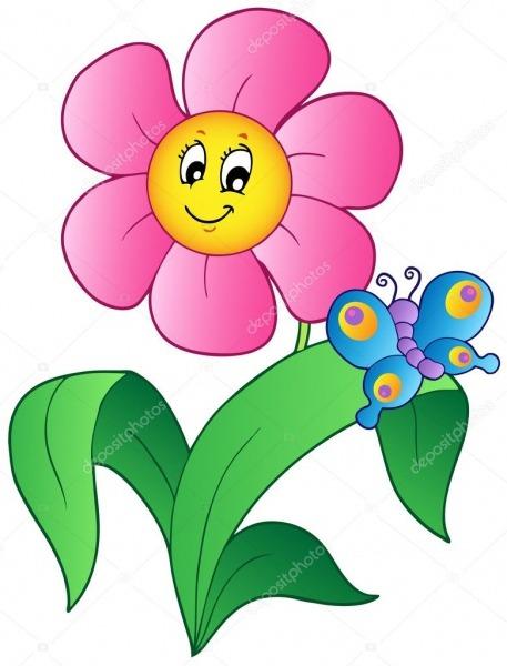 Flor Dos Desenhos Animados Com Borboleta — Vetor De Stock