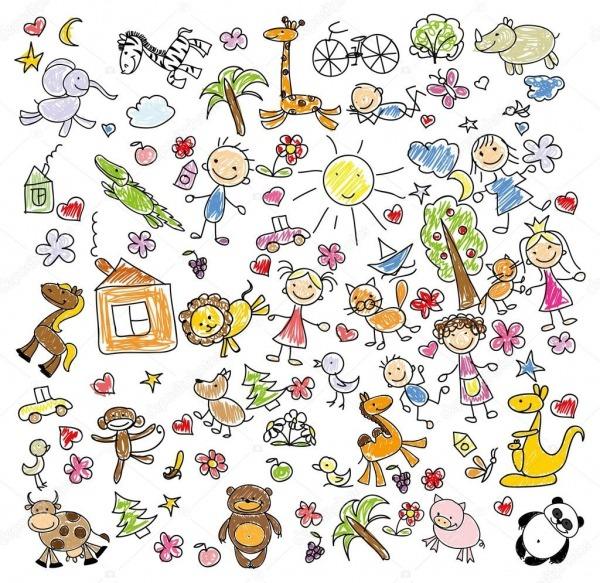 Desenhos Infantis De Animais De Doodle — Vetor De Stock