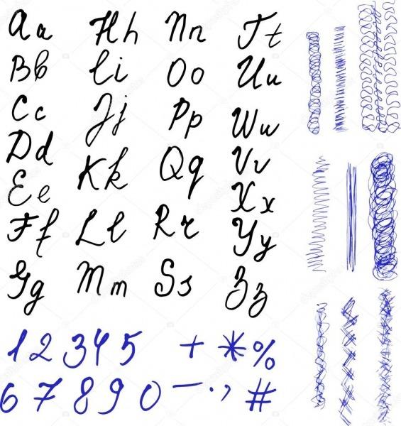 Alfabeto  Letras Desenhadas De Mão  Números Sobre Fundo Branco E