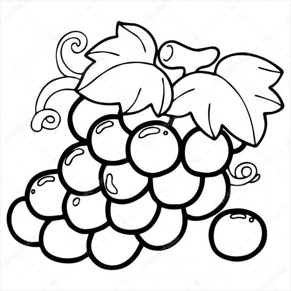 Ilustração Dos Desenhos Animados Uva Isolada No Branco — Vetores