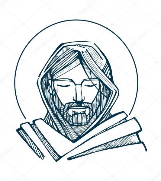 Rosto De Jesus Ilustração Vetorial De Mão Desenhada Ou O Desenho