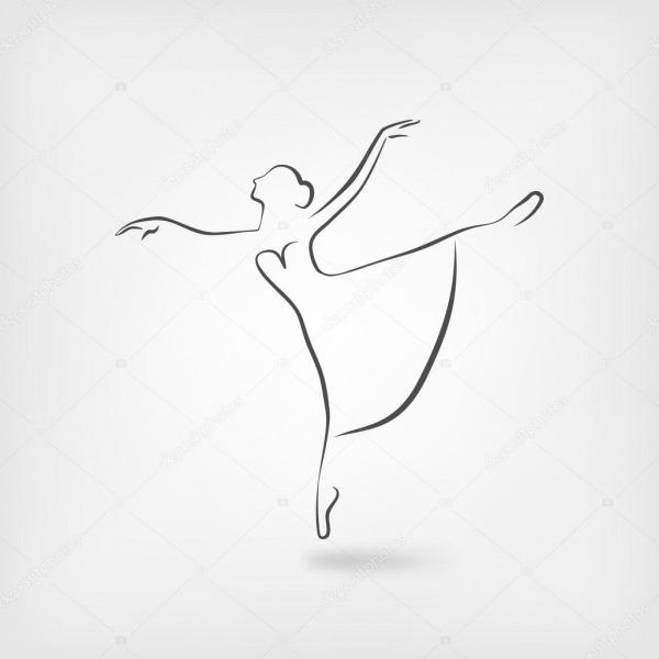 Desenho Bailarina Símbolo Do Estúdio De Dança — Vetor De Stock