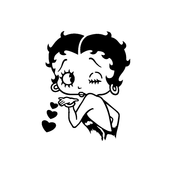 Desenho De Betty Boop Mandando Beijo Para Colorir – Pampekids Net