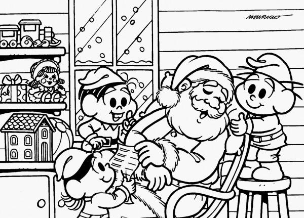 Desenho Para Colorir Turma Da Monica Bibi E Pedrinho Natal Turma