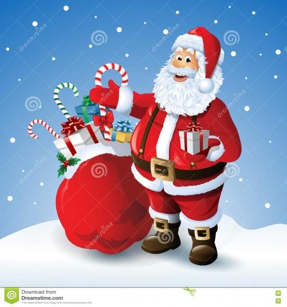 Desenhos Animados Papai Noel Com Um Saco Dos Brinquedos No Fundo