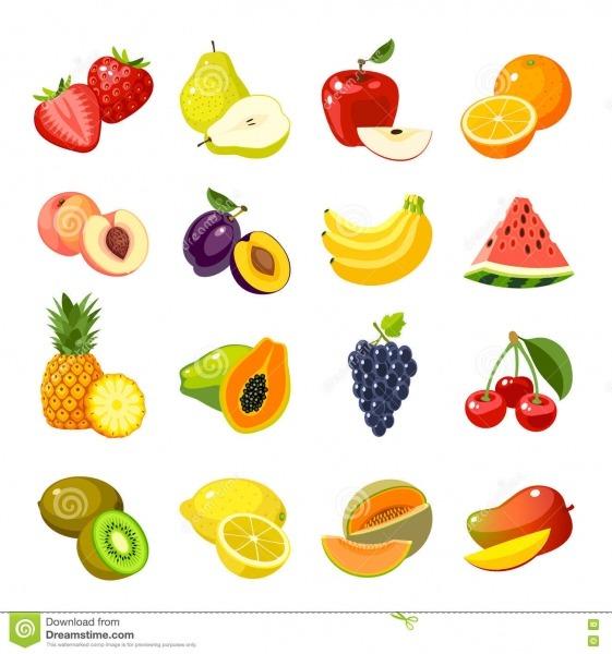 Grupo De ícones Coloridos Do Fruto Dos Desenhos Animados