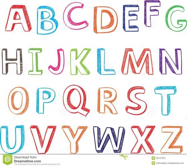 Letras Desenhadas Ṃo Do Alfabeto Fotografia De Stock РFree