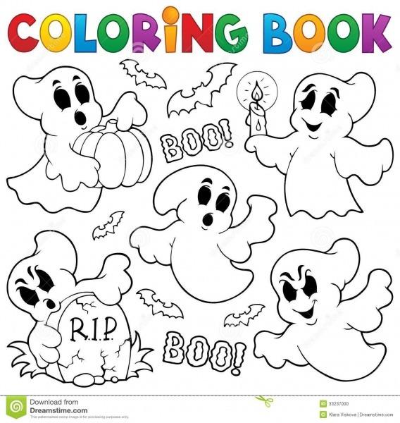 Tema 1 Do Fantasma Do Livro Para Colorir Ilustração Do Vetor