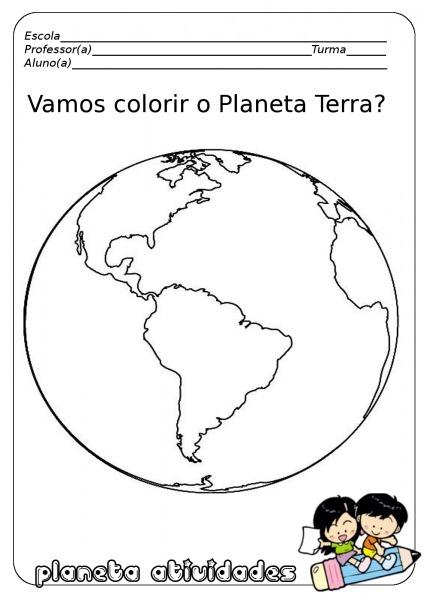Imagem Planeta Terra Para Colorir – Pampekids Net