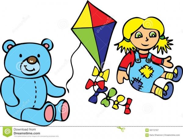 Urso De Peluche, Kie, E Boneca De Pano Ilustração Do Vetor