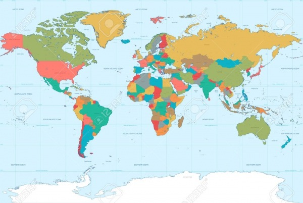 Alto Detalle Del Vector Del Mapa Del Mundo  Con Los Límites