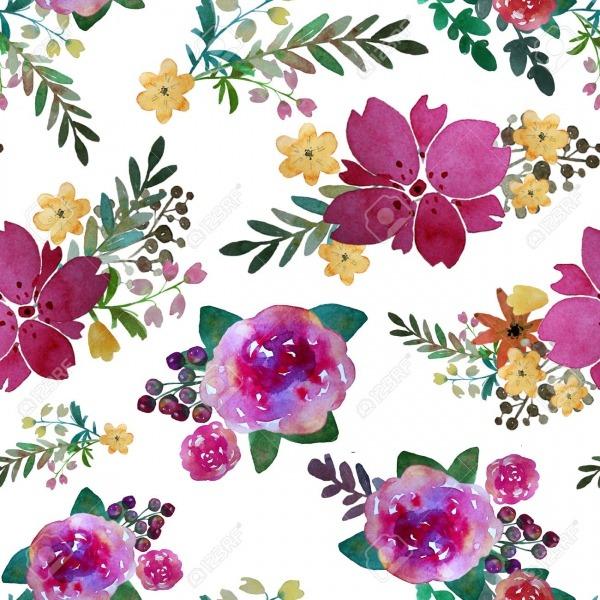 Padrão Sem Emenda Floral Romântico Com Flores Rosas E Folha