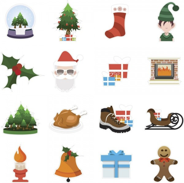 Adesivos Destacáveis Decorativos Símbolos Natalinos