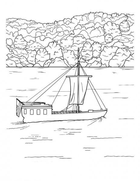 Desenho De Barco Atravessando O Rio Para Colorir