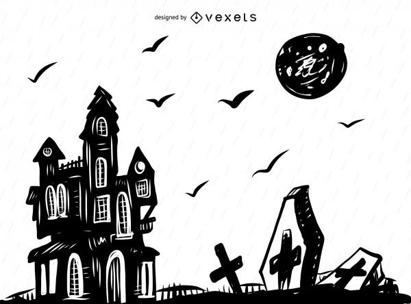 Desenho De Fundo Assustador De Halloween